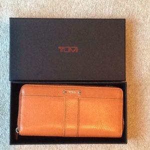 Tumi leather zip around wallet